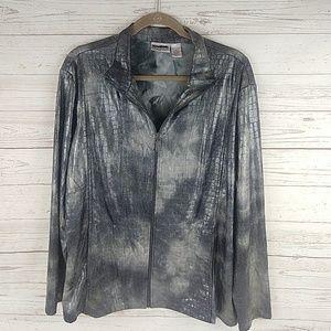 Chico's Travelers metallic zip croco jacket 3 XL